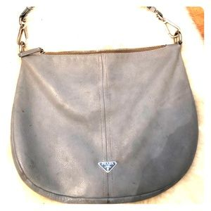 Slate blue Prada hobo bag